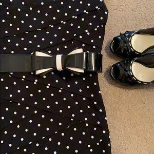 WHBM black/white bow belt XS/S